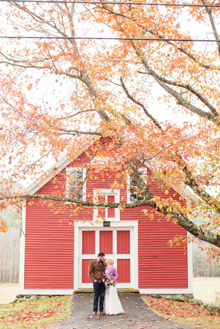 Red Barn in Maine Couple Shot