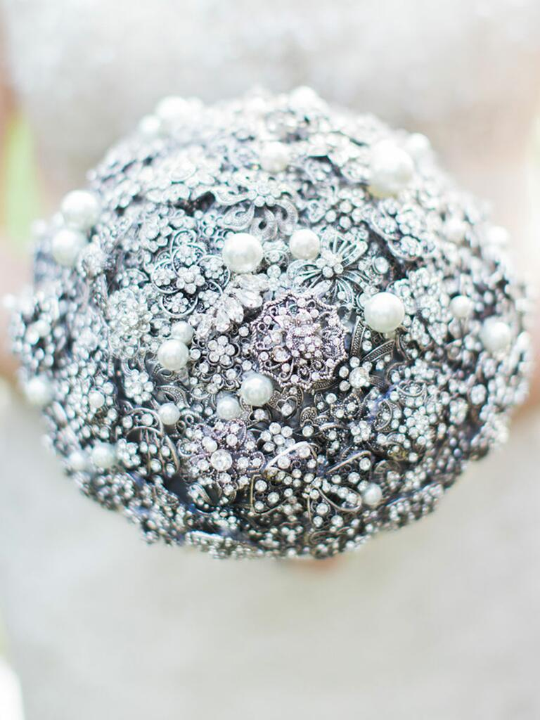 Crystal brooch bouquet with pearl accents
