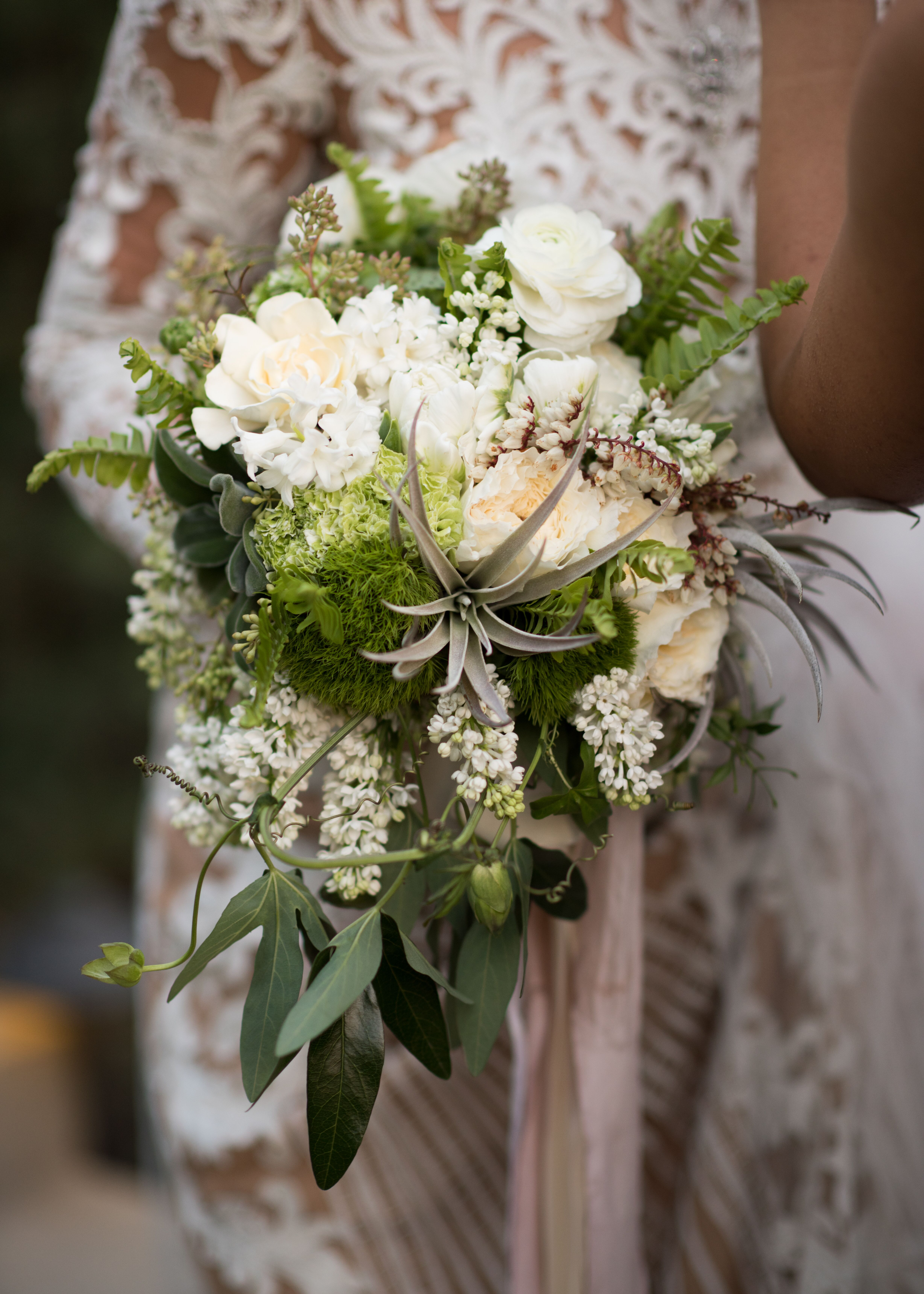 Bouquet With White Flowers And Greenery