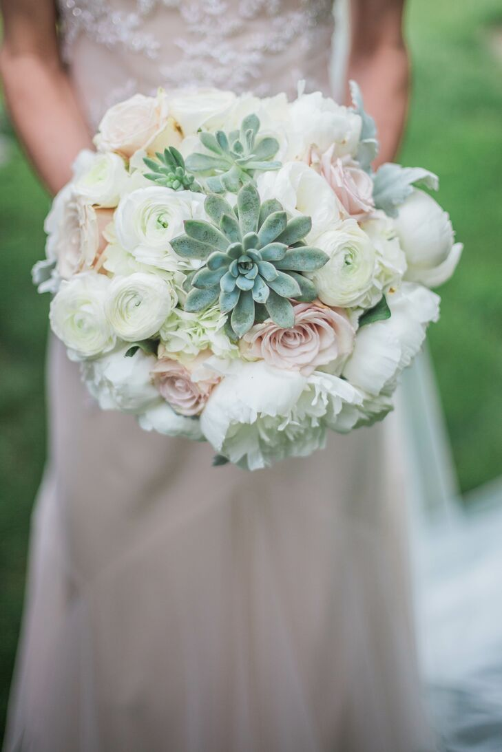 Blush And White Bridal Bouquet With Succulents