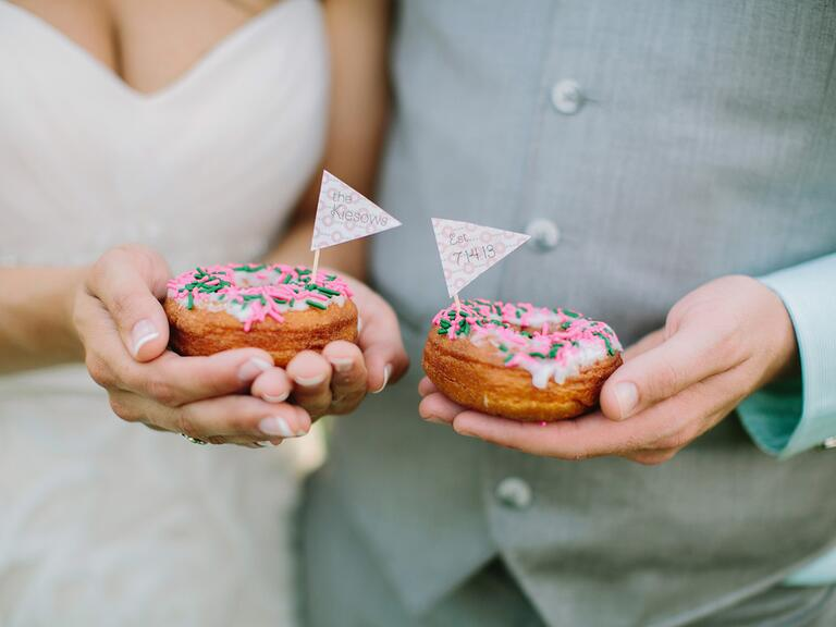 Bride and groom wedding day donuts