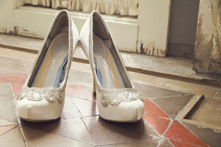 White Beaded Bridal Shoes