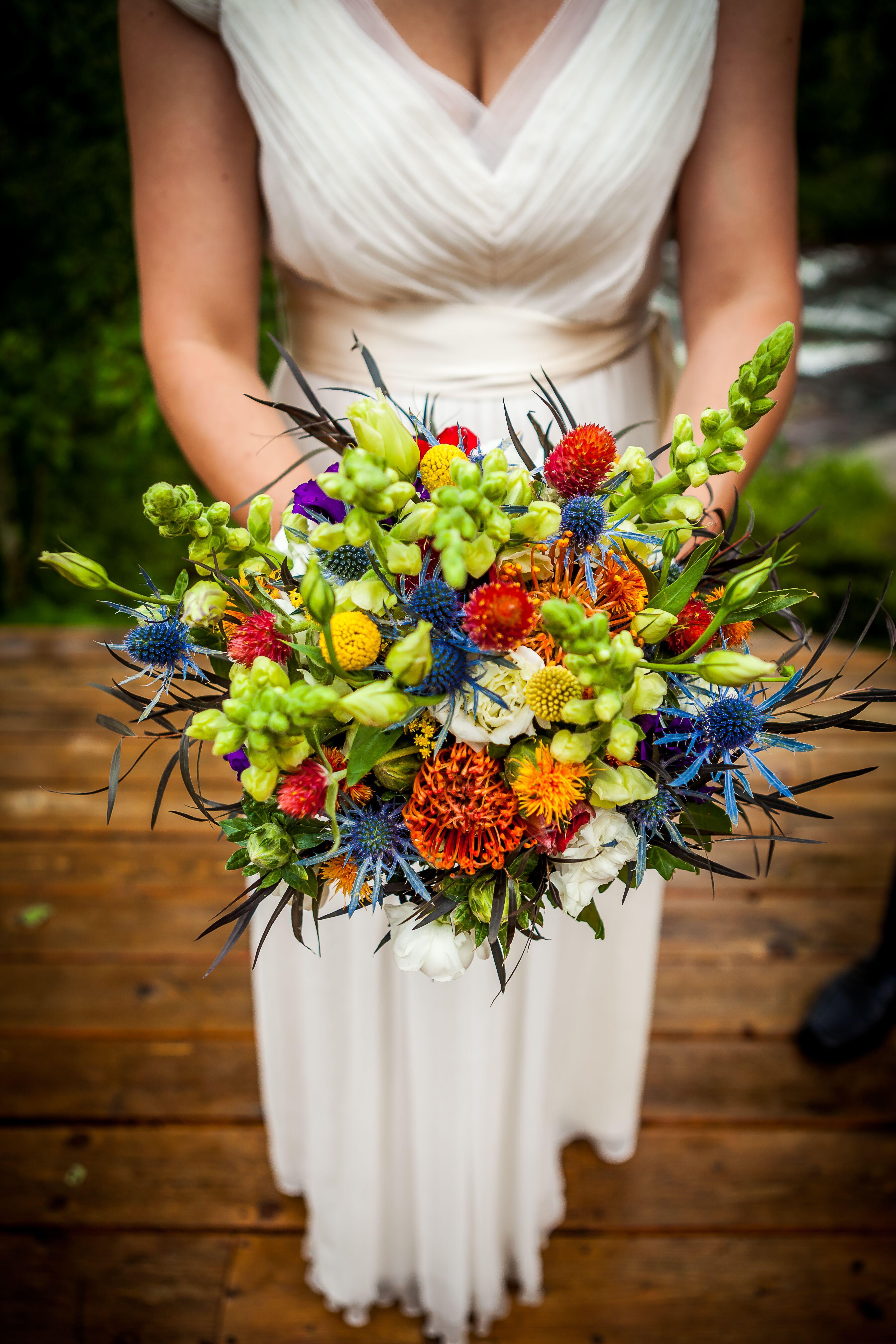 Pincushion Protea Blue Thistle Billy Ball Bouquet