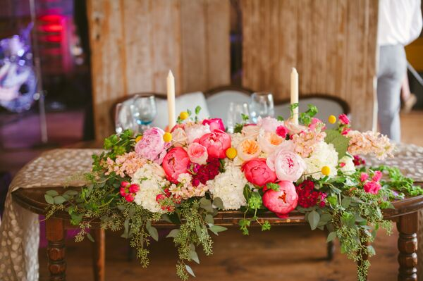 White and Pink Romantic Flower Centerpiece