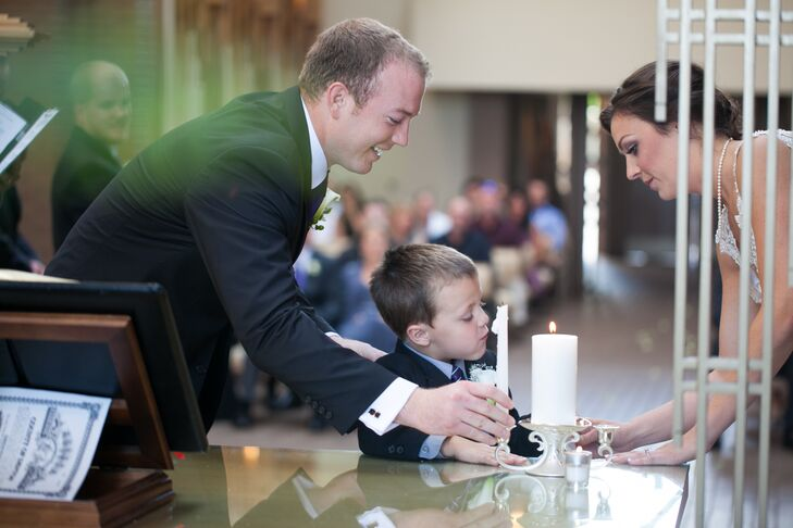 At their wedding ceremony, the couple participated in a unity-candle lighting with their son, Luke.