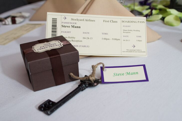 At each place setting, guests received a rustic key and plane-ticket escort card along with a box of the couple's favorite sweet treats.