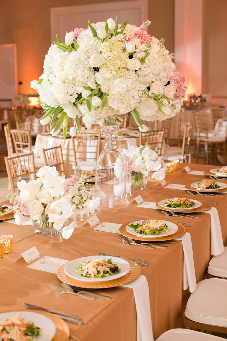 Large pink and white centerpieces for Large wedding decorations