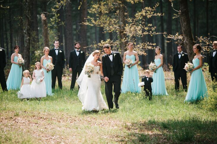 Classic Black Tuxedos with Mint Bridesmaid Dresses