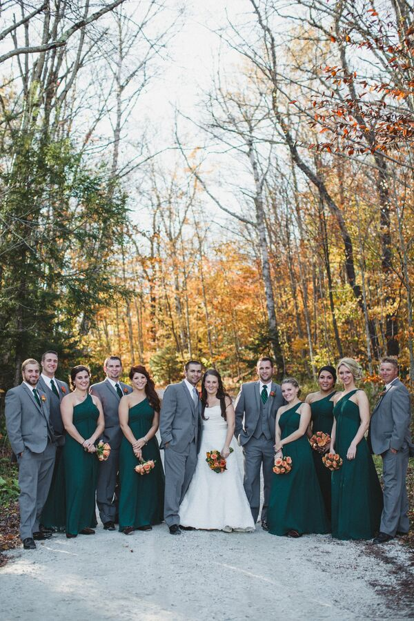 Green and Gray Wedding Party Attire
