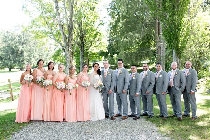 Romantic Peach and Gray Wedding Party