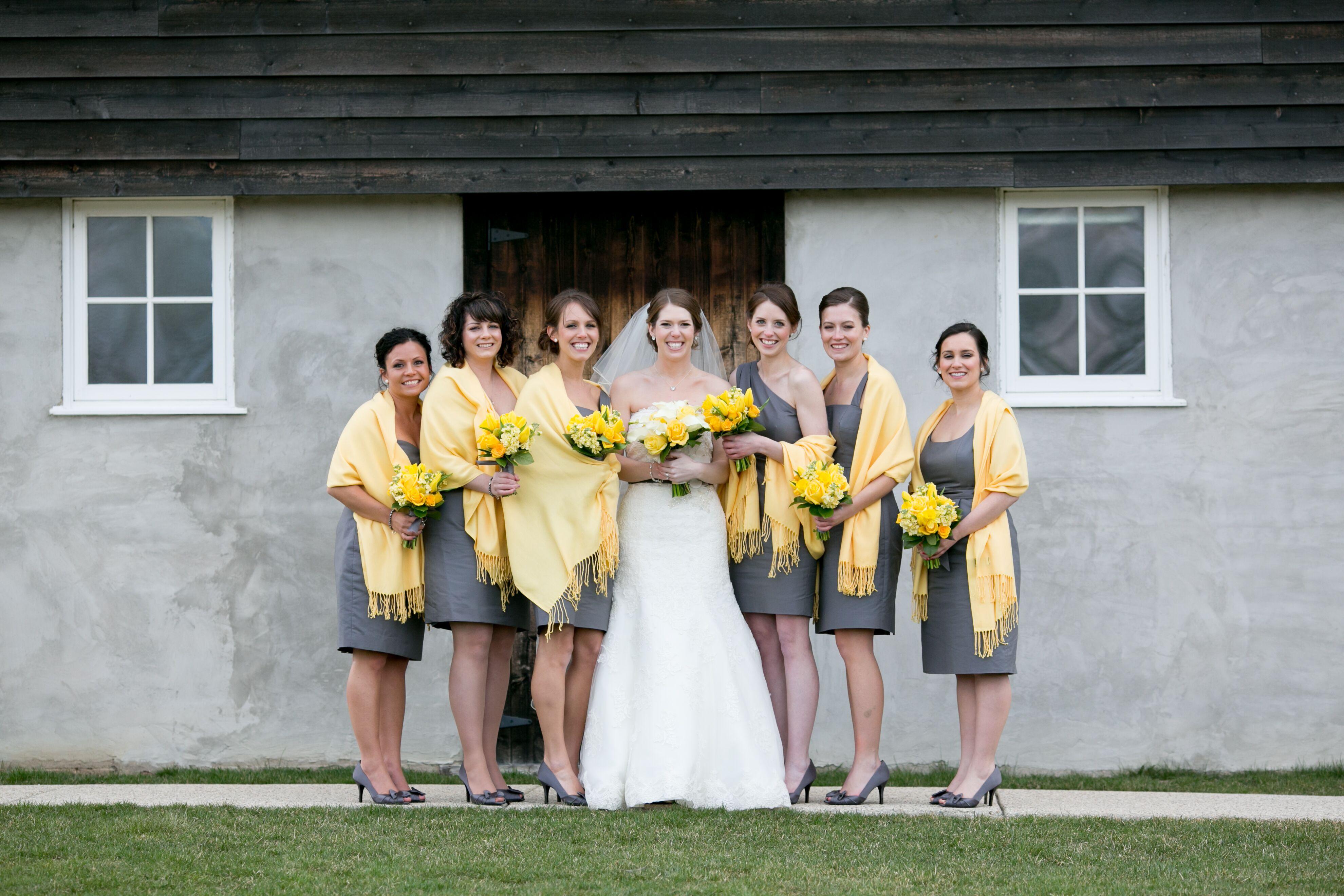 Gray J. Crew Bridesmaid Dresses With Yellow Shawls