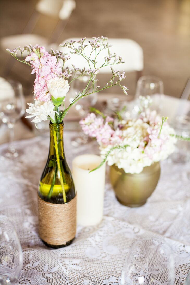 diy wine bottle wedding reception vases