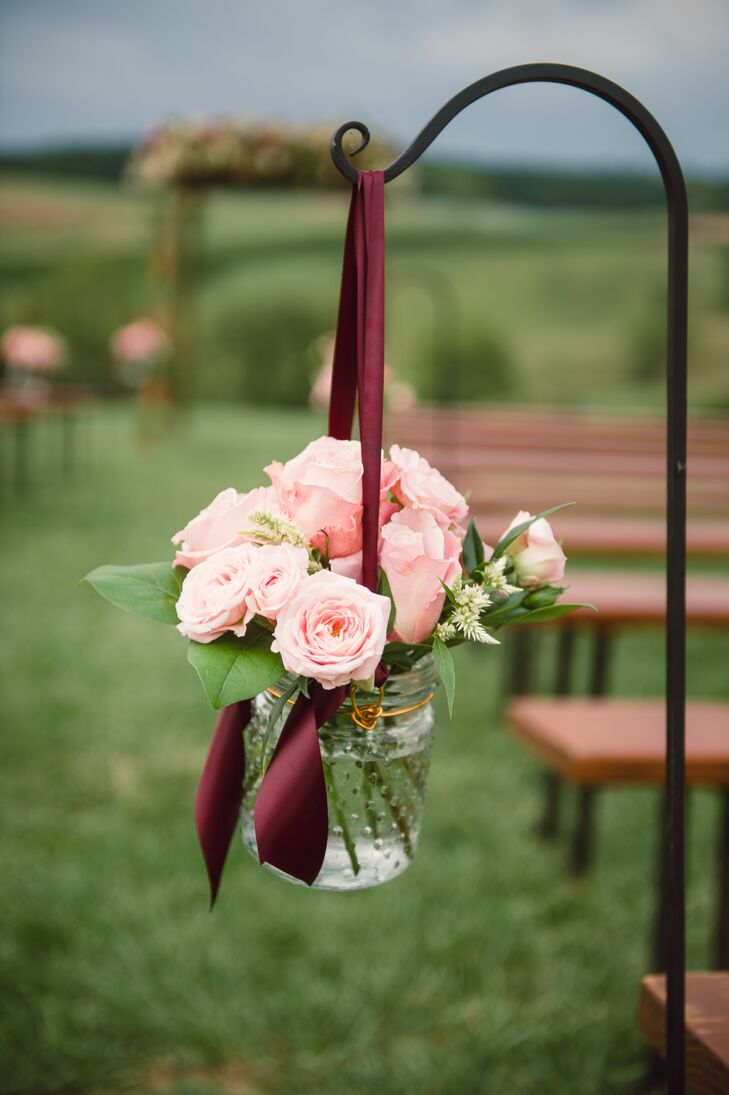 Hanging Pink Rose Aisle Decorations With Burgundy Ribbons
