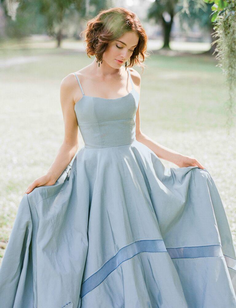 Tara LaTour blue wedding gown