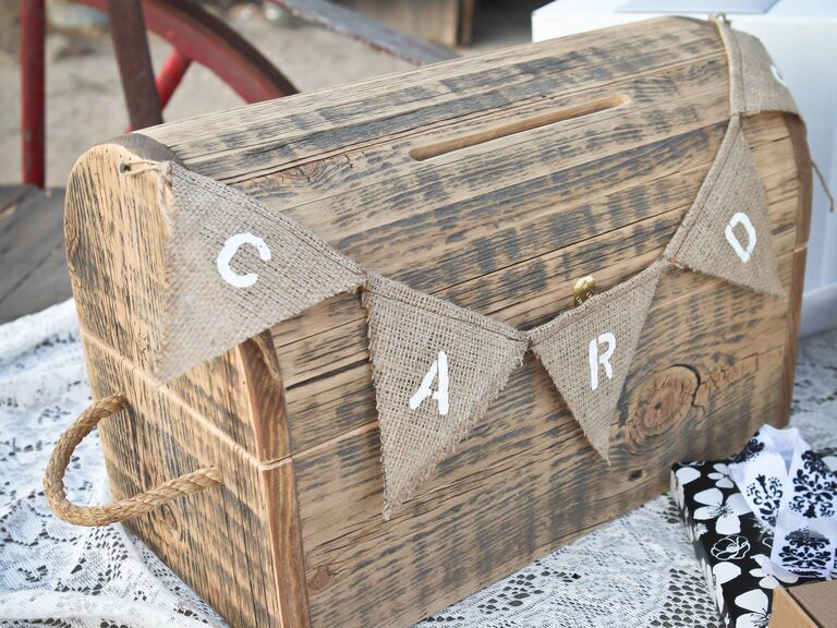 Rustic burlap bunting on wooden wishing well card box