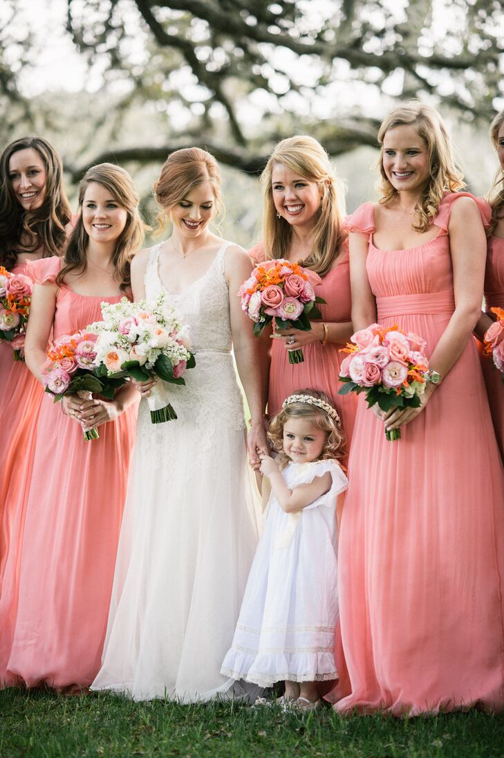 Coral pink bridesmaid dresses and rose bouquets ombrellifo Images
