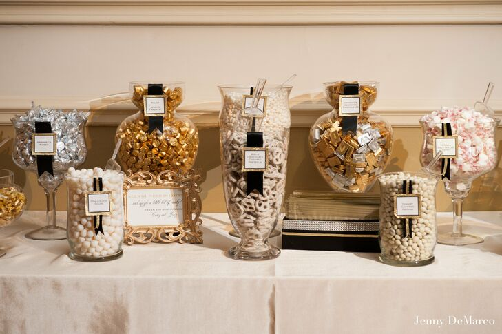gold silver and white candy buffet rh theknot com gold candy buffet jars gold candy buffet jars