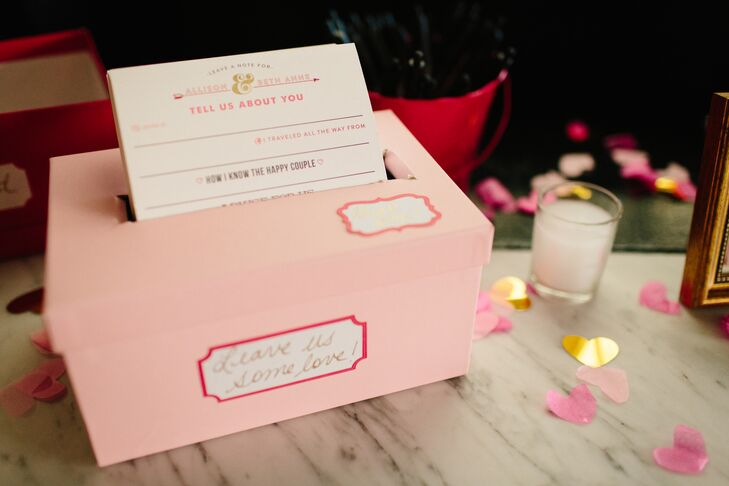"Guests were encouraged to leave notes for the newlyweds in a pink mailbox marked with a heart-shaped red flag. ""It now serves as the mailbox in our apartment,"" Allison says."