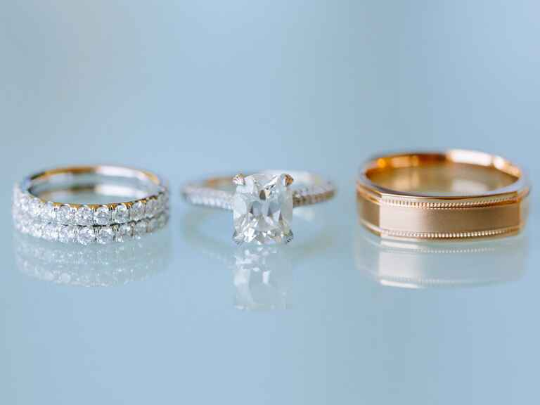 Engagement ring and wedding bands for ring sizing