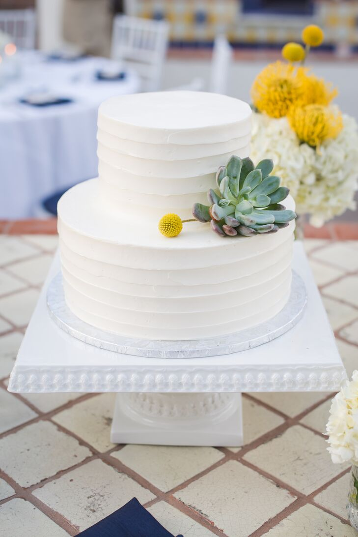 Simple White Wedding Cake With Succulent