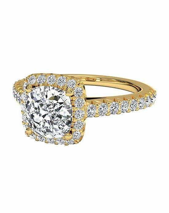 Ritani Cushion Cut French-Set Halo Diamond Band Engagement Ring in 18kt Yellow Gold (0.39 CTW) Engagement Ring photo