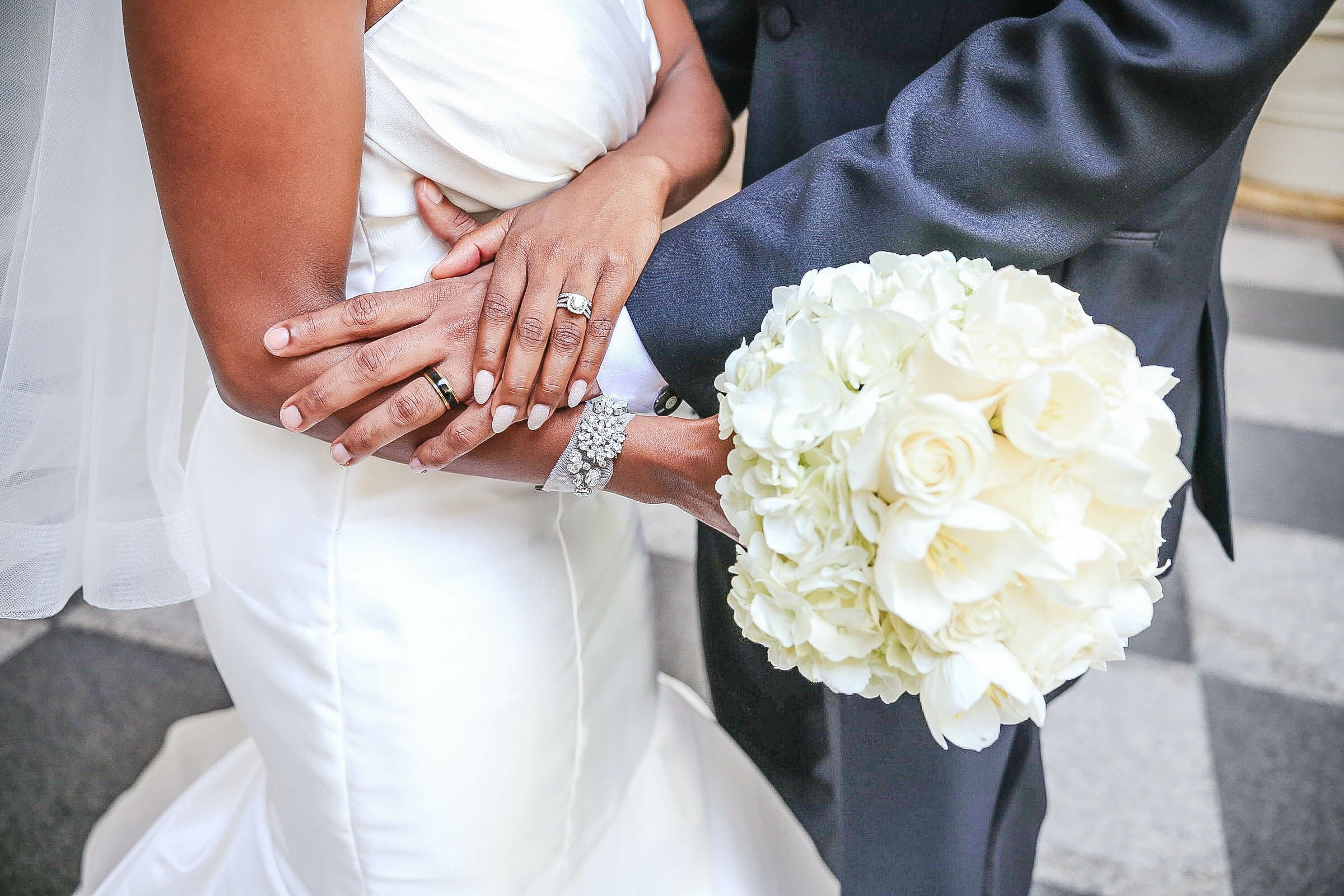 White Hydrangea And Rose Bridal Bouquet