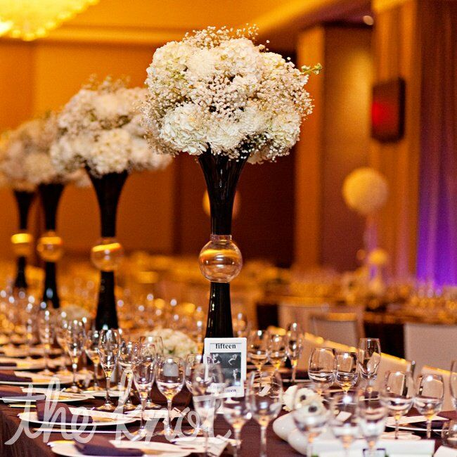 Tall Black And White Hydrangea Centerpieces