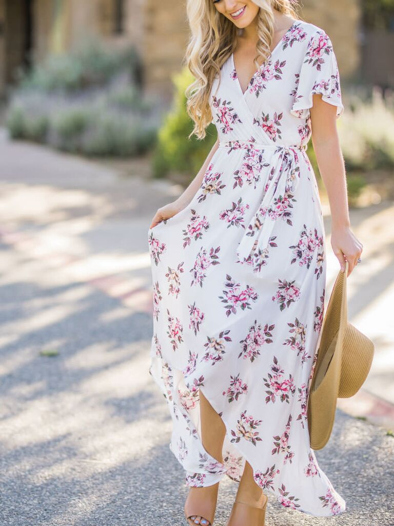 Perfect Floral Dress For Going To Summer Weddings Morning Lavender Melody White Wrap