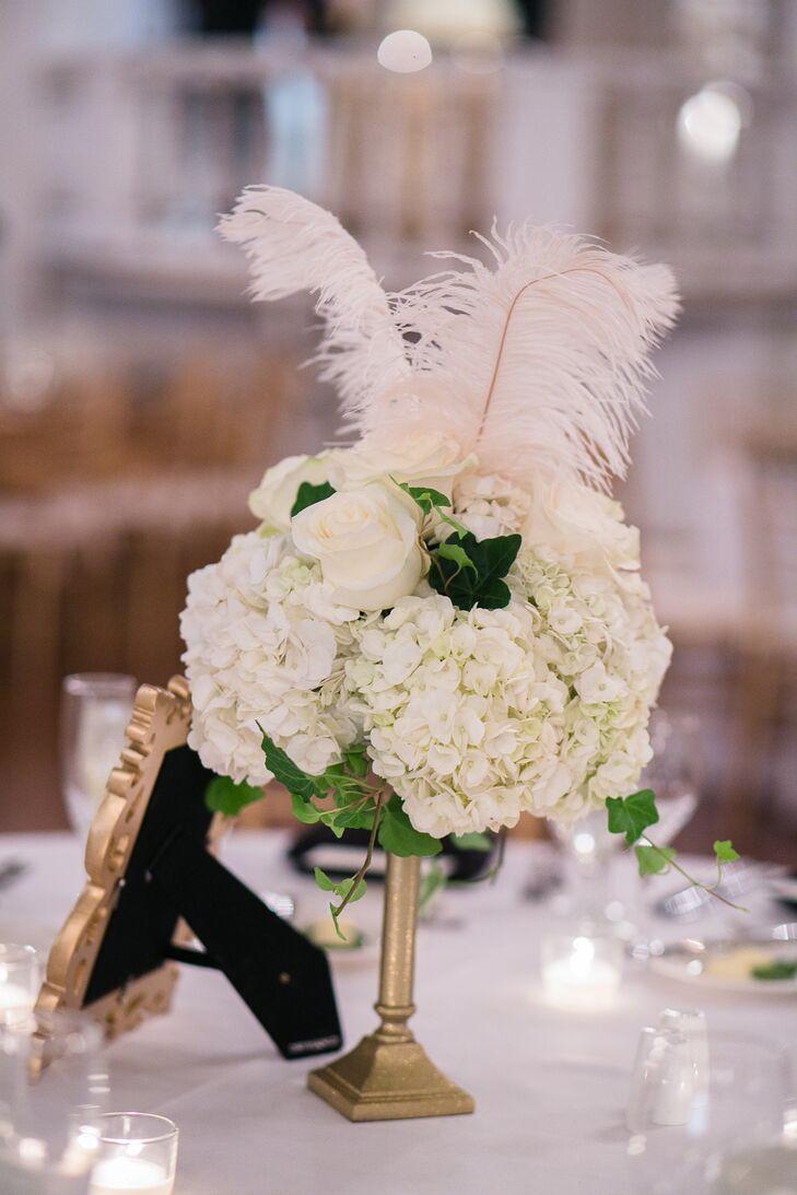 White hydrangea and feather centerpieces mightylinksfo