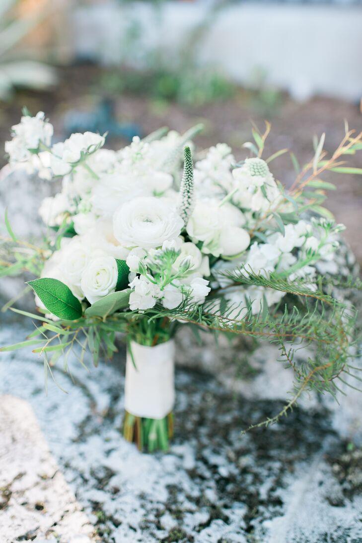 All white garden rose and hydrangea bouquet