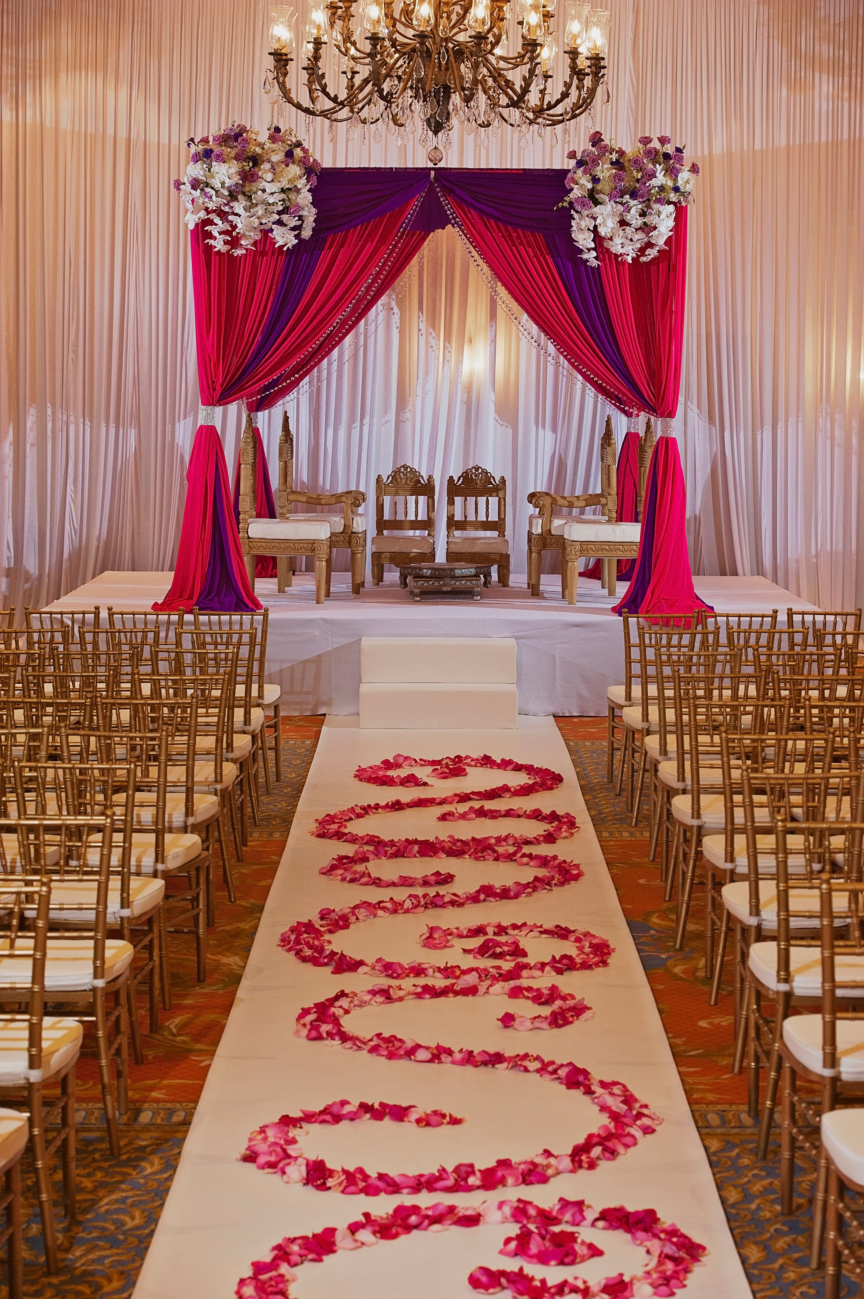Red And Gold Indoor Hindu Ceremony Decor