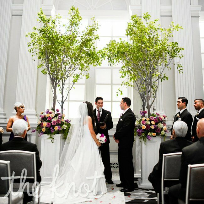 Wedding Altar Flowers Photo: Indoor Tree Altar