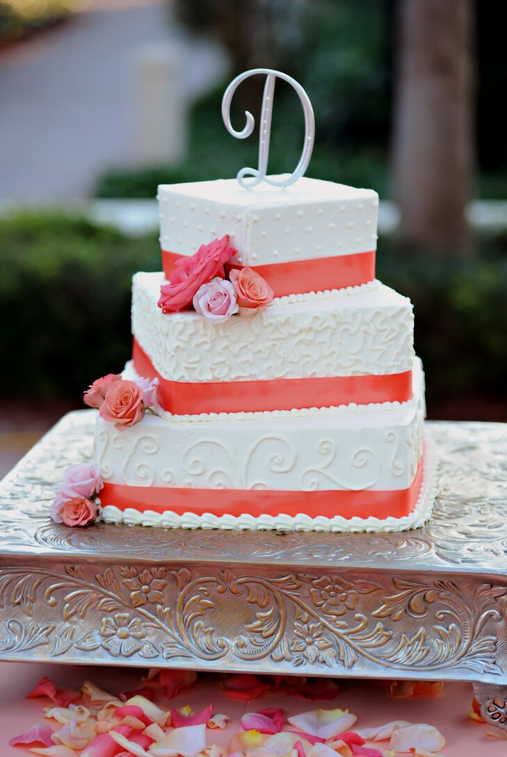 Tiered Square Wedding Cake With Coral Accents