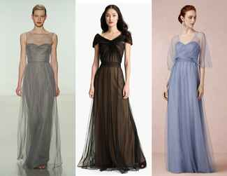 Layered bridesmaid dresses
