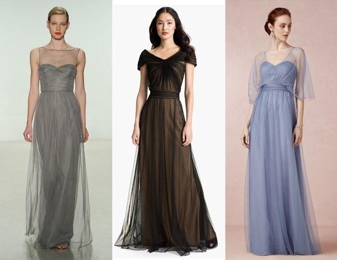 Layered bridesmaid dresses