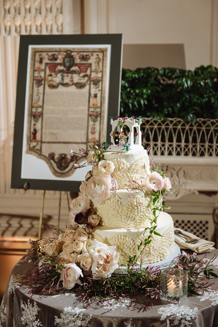 Blush Ranunculus and Fanned-Buttercream Wedding Cake
