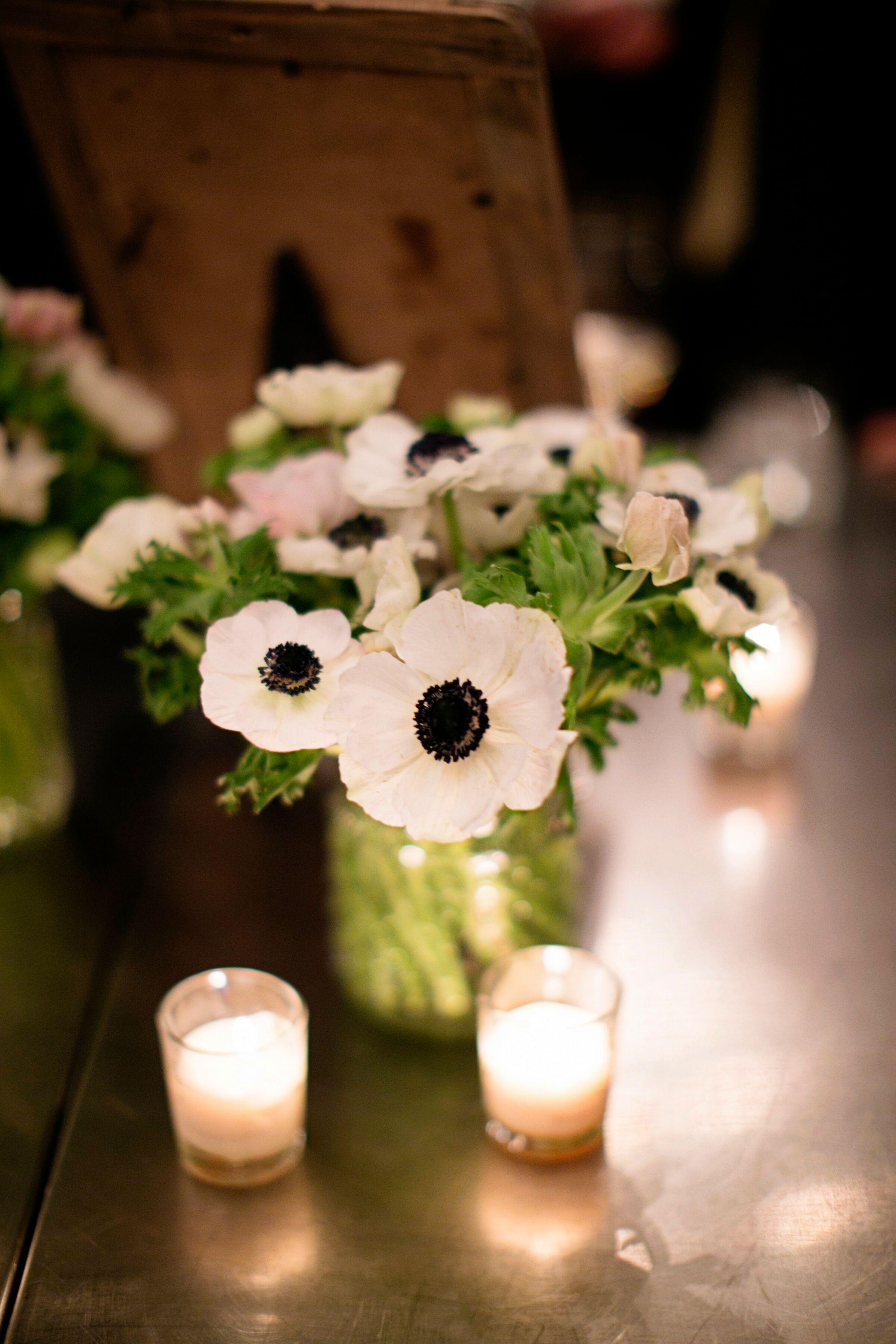 Bright White Anemone Centerpieces