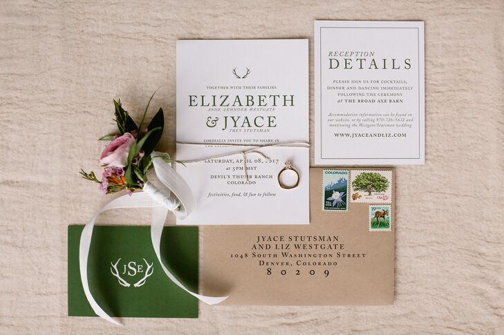 The white, brown and green invitations set the tone for a natural yet elegant celebration at Devil's Thumb Ranch Resort & Spa in Tabernash, Colorado.