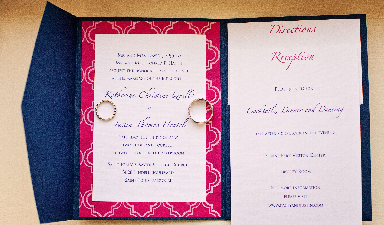 Modern Navy and Fuchsia Wedding Invitations