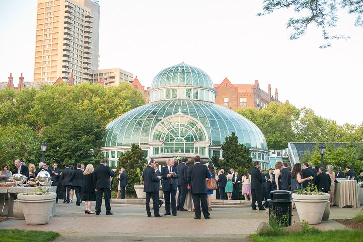 Alexandra and Will held their cocktail hour outside, in the main courtyard of the Palm House at the Brooklyn Botanic Garden, where guests enjoyed chicken and waffles, miniature grilled cheeses and oyster shooters along with their signature cocktails.
