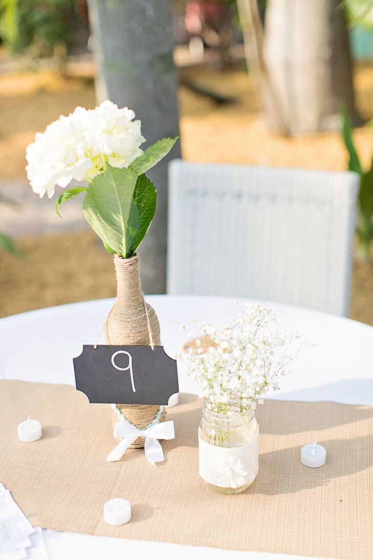Rustic twine wrapped peony centerpiece