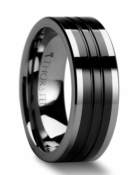 Larson Jewelers EDINBURGH Flat Grooved Tungsten Ring with Ceramic Inlay - 6mm - 10mm Wedding Ring photo