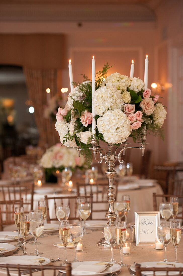 Romantic gold candelabra centerpiece with hydrangeas