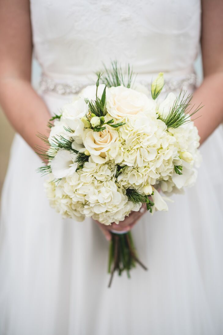 Winter White Bouquet With Pine And Roses