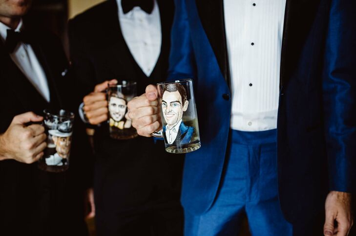 Custom Painted Groomsmen Beer Mugs