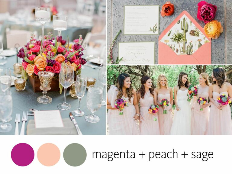 Color Crush: magenta, peach and sage wedding color inspiration