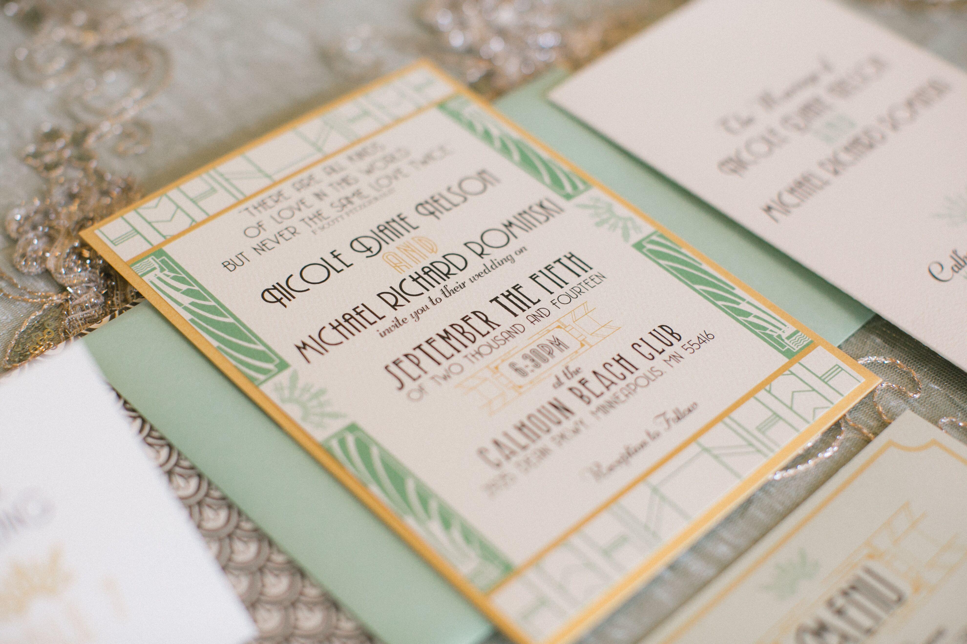 mint and gold art deco wedding invitations