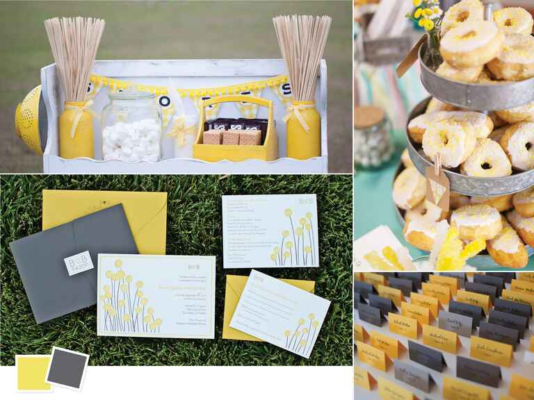 Yellow and gray summer wedding color combo