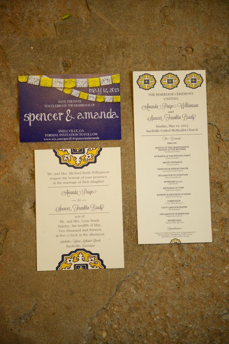 Custom spanish tile inspired wedding invitations stopboris Image collections