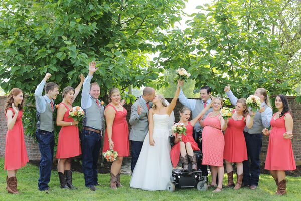 Persimmon Coral Bridesmaid Dresses With Cowboy Boots